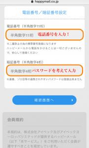 ハッピーメールに登録するために一番重要な電話番号とパスワードを入力する画面